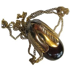 Rare Signed Eggplant Perfume bottle Pendant on Chain