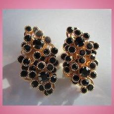 Gorgeous Black Swarovski Crystal Statement Clip Earrings