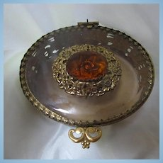 1940s Beveled Glass Huge Citrine Faceted Crystal Ornate Setting Top Gold tone Oval Jewelry Casket