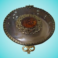 1940s Beveled Citrine Faceted Crystal Ornate Oval Jewelry Casket