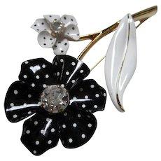 Nina Ricci Signed Huge Black White Polka Dot Enamel 1960s Spectator Flower Power Pin MINT