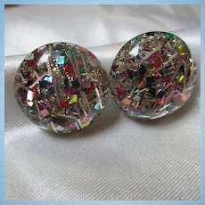 Funky Confetti Mid Century Lucite Screw On Earrings