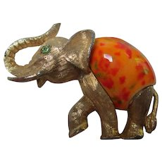 Fabulous Bright Orange Art Ceramic Trunk Up Elephant Figural Brooch