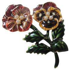 Beautiful Signed Pansy Enamel Flower Brooch