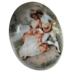 Victorian Courting Couple on Glass C Clasp Brooch