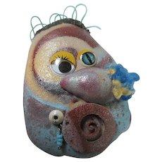 Whimsical Folk Art Googly Eyes Mr Potato Head Fun Funky Huge Statement Brooch