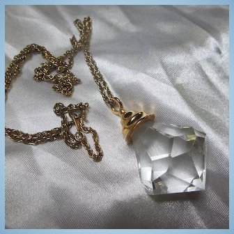 1960s Lucite Faceted huge Jewel Pendant on Chain
