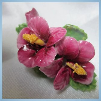 Gorgeous Pink Hibiscus Bone China Flowers Made in England Brooch Signed