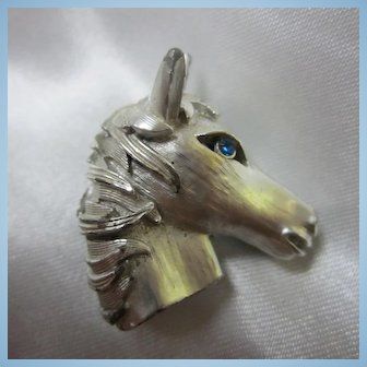 1960s  Horse Head Figural Blue Crystal Rhinestone Eye Brooch