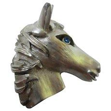 1960s  Horse Head Figural Blue Crystal Rhinestone Eye Brooch