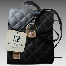 Givenchy Leather Quilted Black Box Pocketbook Original Tag 1960s