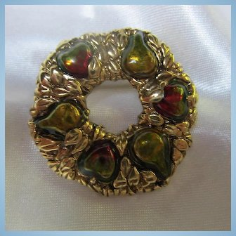 Danecraft Signed Harvest Fruit Enamel Wreath Brooch