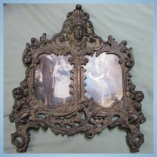 Antique Victorian Art Nouveau Double Frame Woman's Face Cupids Incised Foundry Number