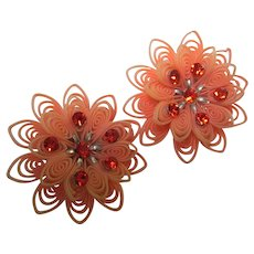 Coral Featherlite Celluloid Rhinestone 1950s Clip Earrings