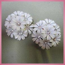 White Celluloid Flowers Rhinestone Center Clip Earrings 1950s