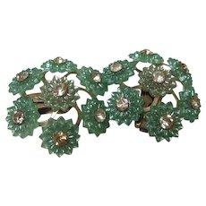 Aqua Celluloid Sparkling Rhinestone Flower Clip Earrings 1950s
