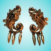 Coro Signed Early Victorian Rococo Dangle Earrings