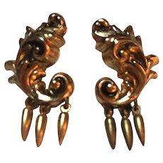 Coro Signed Early Victorian Rococo Dangle Earrings