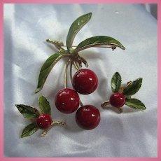 Iconic 1960s  Red Enamel Cherries Brooch Earrings Demi Parure Set
