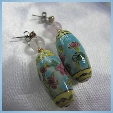 Chinese Porcelain Barrel Shape Flowers Rose Quartz Pierced Earrings