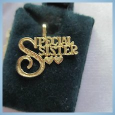 14K Gold Special Sister Pendant