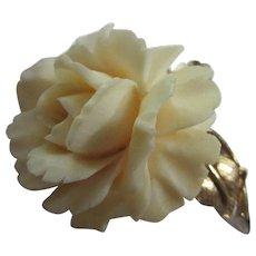 Boucher Signed Numbered Carved Rose 1950s Brooch