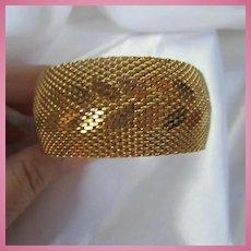 Napier Signed Wide Gorgeous Woven Gold Plate Bracelet Mint