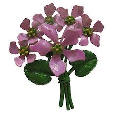 1960s Purple Flower Lilac Enamel Brooch Pin