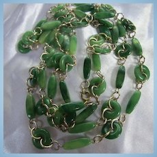 Fab Faux Jadeite Green Lucite Long 55 inch Necklace