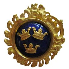 Sporrong Signed Nordic Royal Three Crown Cobalt Blue Guilloche Enamel Brooch