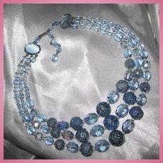 Gorgeous W Germany Aquamarine 1950s Triple Stand AB Necklace