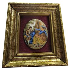 Miniature Signed Hand Painted Enamel on Copper London in Frame