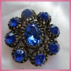 Stunning Cobalt Blue faceted Crystal Brooch