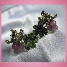 Pink Moonglow Green Enamel Leaves Silver tone Screw On Earrings