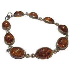 Signed Beautiful Baltic Amber Sterling Silver Bracelet