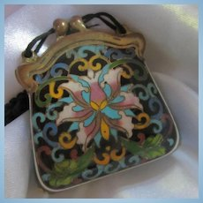 Amazing 1920s Chinese Cloisonne Champleve  Enamel Purse Pendant Silk Necklace