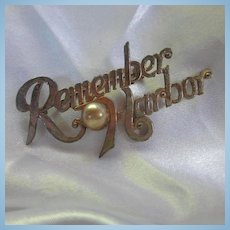 1940s Remember Pearl Harbor Historic Brooch Pin