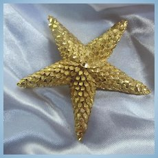 Huge Gold plated Brilliant Star Statement Brooch Pendant