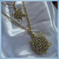 Fabulous Double Strand Sparkling Turtles AB Crystals Figural Necklace