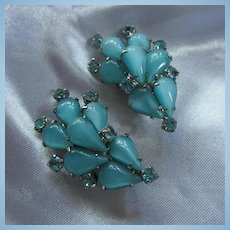 Fabulous Aqua Moonstone Rhinestone Clip Earrings 1950s