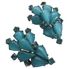 Fabulous Aqua Moonstone Rhinestone Clip Earrings 1950s