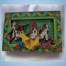 Wonderful Wood Doggy Holiday Pin Brooch Frances Meyer Canada