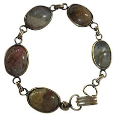 Natural Picture Jasper Gold Filled 1940s Bracelet