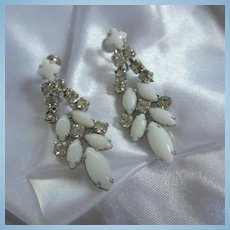 Gorgeous White Milk Glass and Sparkling Crystal Rhinestone Occasion Earrings