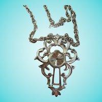 Rare Trifari Signed 17 Jewel Pendant Watch Silver tone Chain Necklace