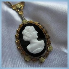 Czech Glass Cameo Yellow White Gold Plate Y Necklace