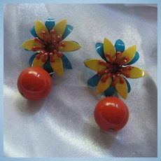 Fab 1960s Bright Flower Power Enamel Mod Earrings