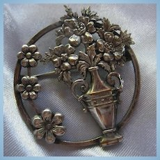 Lovely Flower Vase Figural Brooch