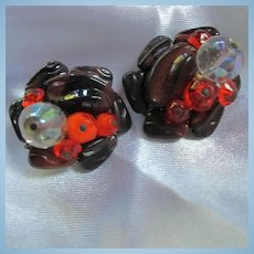 West Germany Hand Blown Glass Brown Orange AB Clip Earrings Signed