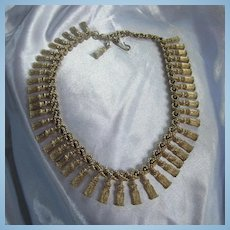 Stunning Solid Tassels Gold tone 1960s Statement Necklace